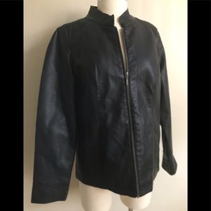Cristopher & Banks Black Vegan Leather Jacket Sz M